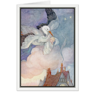 Vintage Stork Baby Delivery by Anne Anderson Greeting Card
