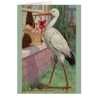 Vintage Stork Baby Delivery Greeting Card