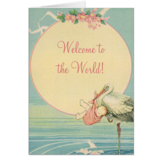 Vintage Stork Baby Girl Blanket, Welcome to World Card