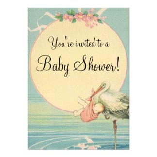 Vintage Stork Baby Girl Pink Blanket Baby Shower Invite