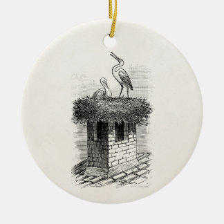 Vintage Stork Bird Nest Bird Antique Template Christmas Ornament