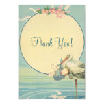 Vintage Stork Blue Boy Baby Shower Thank You Personalised Announcement