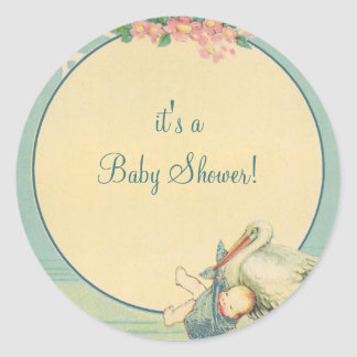 Vintage Stork Carrying Baby Boy in Blue Blanket Classic Round Sticker