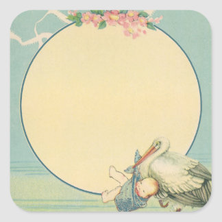 Vintage Stork Carrying Baby Boy in Blue Blanket Square Sticker