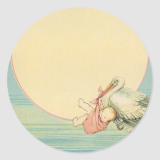 Vintage Stork with Baby Girl in Pink Blanket Classic Round Sticker