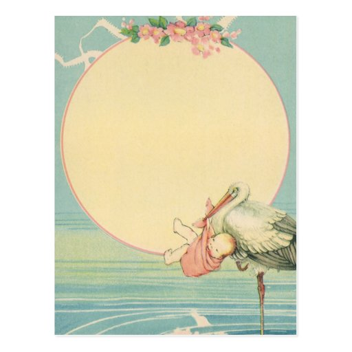 Vintage Stork with Baby Girl in Pink Blanket Post Cards