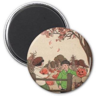 Vintage Storybook Kids & Pumpkins 6 Cm Round Magnet