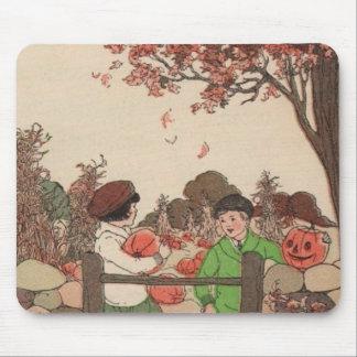 Vintage Storybook Kids & Pumpkins Mouse Pad