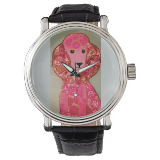 Vintage Strap Watch with Pink Poodle Dog