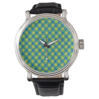 Vintage Strap Wristwatch: Blue, Green Polka Dots Watch