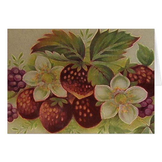 Vintage Strawberries Card