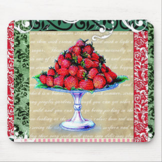 Vintage Strawberries Collage Mouse Mat