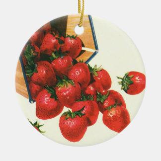 Vintage Strawberries in Basket, Food Fruit Berries Christmas Ornament