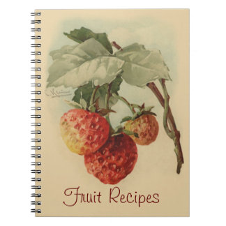 Vintage strawberries spiral note book