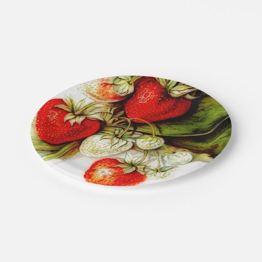 Vintage strawberry paper plate