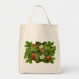 Vintage Strawberry Plant Grocery Tote Bag