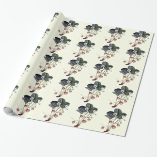 Vintage Strawberry Plant Illustration Wrapping Paper