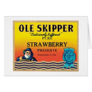 Vintage Strawberry Preserve Food Product Label Card