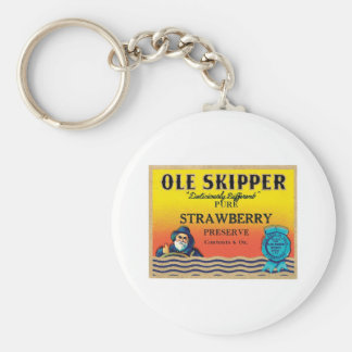 Vintage Strawberry Preserve Food Product Label Basic Round Button Key Ring