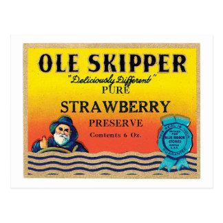 Vintage Strawberry Preserve Food Product Label Postcard