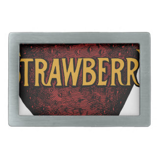 Vintage Strawberry Text Rectangular Belt Buckles