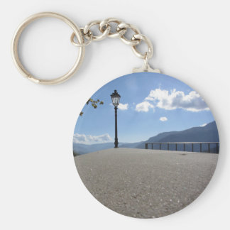 Vintage street lamp against blue sky basic round button key ring