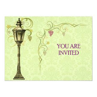 """Vintage Street Lamp Illustration 5.5"""" X 7.5"""" Invitation Card"""