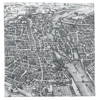 Vintage Street Map of Paris France Napkin