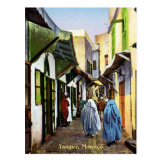Vintage Street Scene of Tangier, Morocco Postcard
