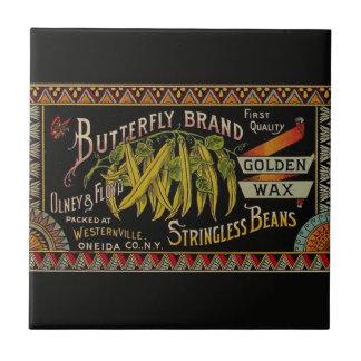 Vintage String Beans Label Small Square Tile