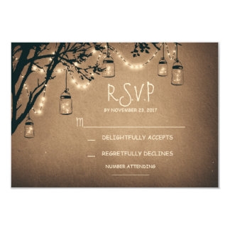 vintage string lights and mason jars RSVP 9 Cm X 13 Cm Invitation Card