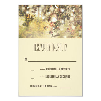 Vintage string lights branches wedding RSVP cards 9 Cm X 13 Cm Invitation Card