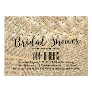 Vintage String Lights Old Paper Bridal Shower 13 Cm X 18 Cm Invitation Card