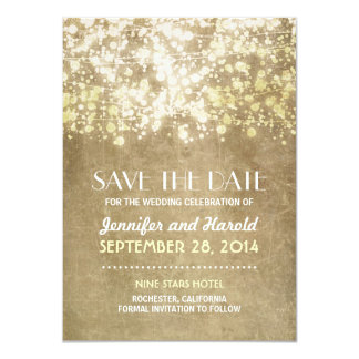 vintage string lights save the date cards