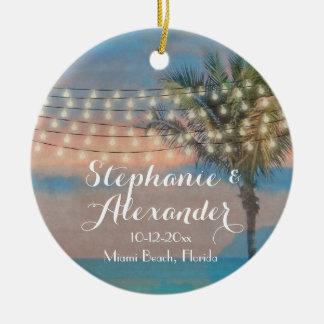 Vintage String Lights Sunset Beach Wedding Christmas Ornament