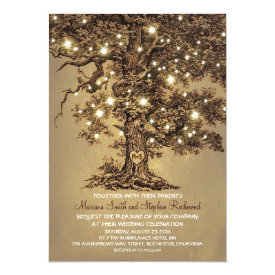 "Vintage String Lights Tree Rustic Wedding Invites 5"" X 7"" Invitation Card at Zazzle"