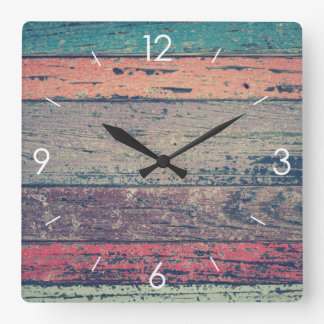 Vintage Stripe Design Rustic Country Wooden Decor Square Wall Clock