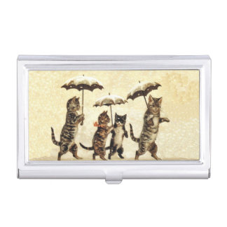 Vintage Striped Cats Umbrellas Dancing Snow Business Card Holder