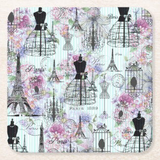 Vintage stripes Eiffel Tower collage pink floral Square Paper Coaster