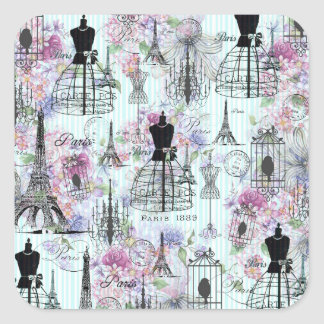 Vintage stripes Eiffel Tower collage pink floral Square Sticker