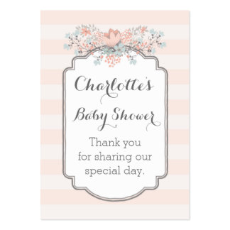 Vintage Stripes Floral Baby Shower Favour Tags Pack Of Chubby Business Cards