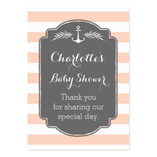 Vintage Stripes Nautical Baby Shower Favor Tags Large Business Cards (Pack Of 100)