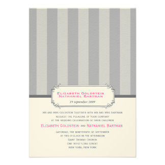 Vintage Stripes Wedding Invitation Grey Pink