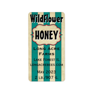 Vintage Stripes Wildflower Customized Honey Jar Label