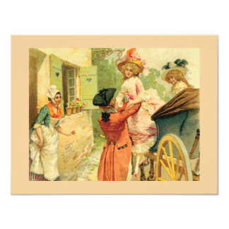 "Vintage Style 18th Century Card Party Invitation 4.25"" X 5.5"" Invitation Card"