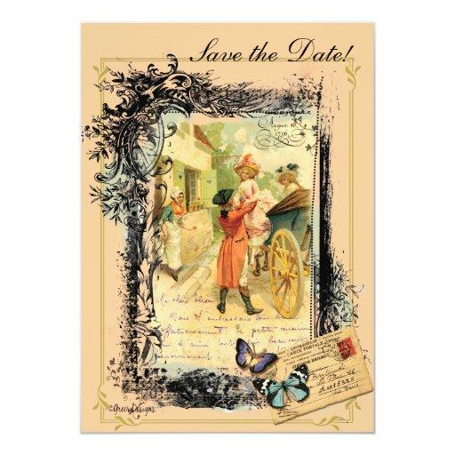 Vintage Style 18th Century Couple Save the Date 13 Cm X 18 Cm Invitation Card