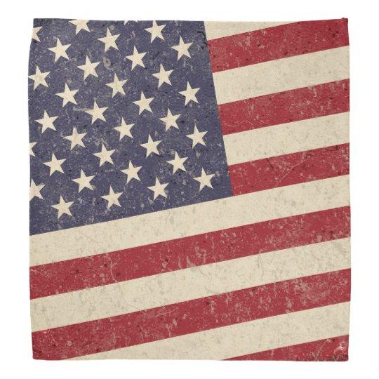 Vintage Style American Flag Grunge Look Bandana