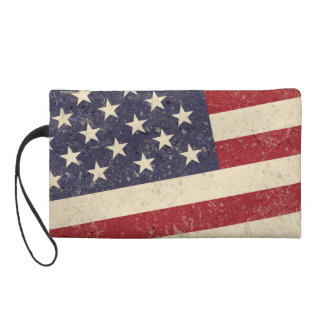 Vintage Style American Flag Grunge Look Wristlet Clutch
