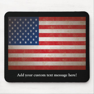 Vintage Style American Flag Patriotic Design Mouse Pad