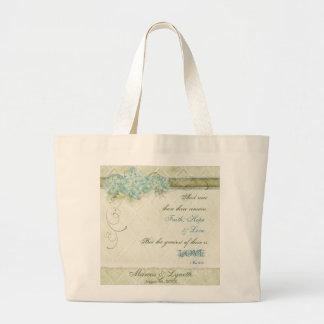 Vintage Style Aqua Floral Hydrangea Swirl Damask Jumbo Tote Bag